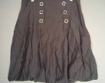 Jus D'Orange grey poof skirt mini boho bohemian punk made in Paris France 80s pleated Saved by the Bell
