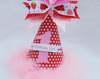 Strawberry Birthday Party Hat in Red, Pink and White Polka Dot