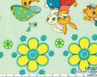CLEARNACE, Japanese, Lecien, Pitic Pitica, 4 Girls Collection, Animal Friends in a Row, Double Gauze, 40202-70, 1/2 Yard