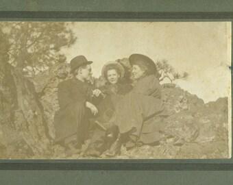 1910 Spokane WA Man Women Sitting Outside on Rocks Washington Cabinet Card Studio Portrait Antique Photograph Photo