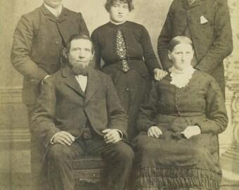 Antique Family Portly Women Men Overweight Heavy Victorian Dress Cabinet Card Studio Portrait Antique Photograph Photo