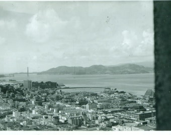 San Francisco CA View From High Rise Window Golden Gate Bridge 1960s Mod Vintage Black And White Photo Photograph