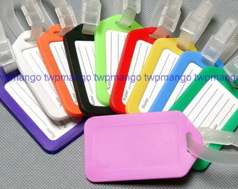 Lot of 10 Luggage Tags... Label tags...Striped Bag Tabs...10 Colors...H128