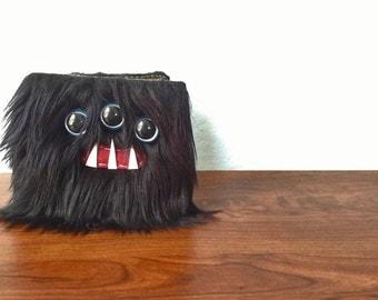 Black Monster Wallet- Three Light Blue Eyes