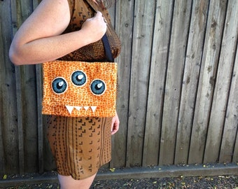 Orange Leopard Monster Purse- Hand-painted Eyes