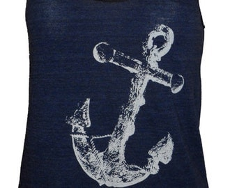Anchor Art Print Ladies Navy Blue Tank Top T-shirt American Apparel XS   S  M or L