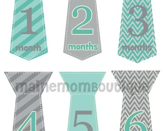 FREE GIFT, Monthly Baby Boy Tie Stickers Milestone Sticker Baby Month Stickers Bodysuit Photo Prop Stickers Gift Turquoise Blue Gray