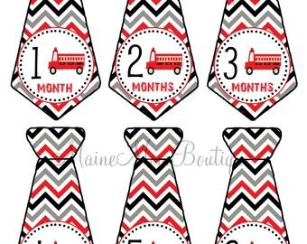 FREE GIFT, Baby Monthly Sticker, Baby Boy Month Stickers, Tie Firetrucks Milestone Bodysuit Sticker Baby Shower Gift Photo Prop