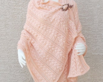 Handmade Hand Knit Shawl Wrap Lace Horseshoe Choose Your Color One Size Fits Most