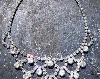 Vintage Rhinestone Cascade necklace - 1950s - sparkly- SALE