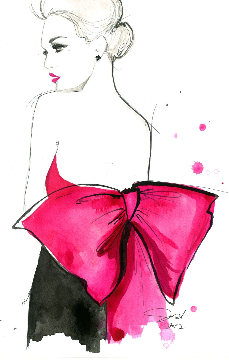 Print from original watercolor and pen fashion illustration by