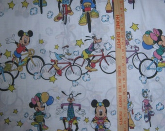 Mickey  Mouse and friends biking  twin single flat bed sheet