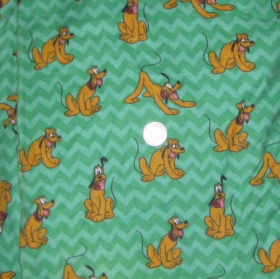 Reserved Disney Pluto Flannel Fabric Green By