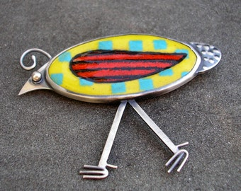 Bird Brooch - Quirky Quail Brooch - Enamel Bird Brooch -  Whimsical Bird Brooch - Yellow Enamel Bird Pin - Sterling Enamel Bird Brooch