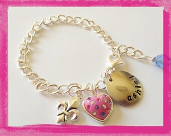Charm Bracelet Personalized - Kids Jewelry - Hand Stamped BIRTHDAY BRACELET for Children