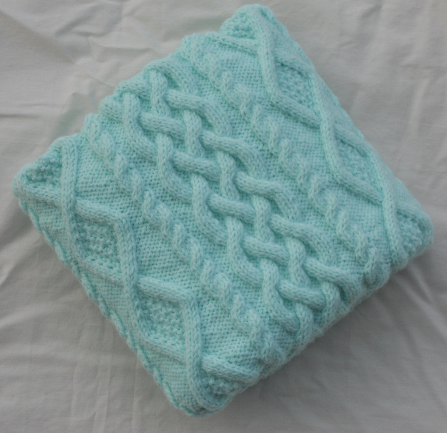 Chunky Knitted Baby Blankets Chunky Green Hand Knit...