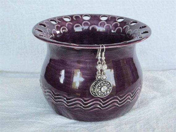 Dark Purple Earring Holder Made from Wheel Thrown Pottery