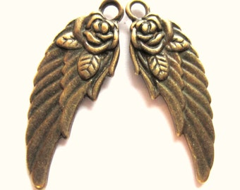 12 Antique bronze wing charms w rose angel wing charms 11mm 31mm double sided
