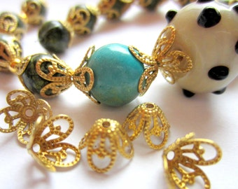 30 Brass Filigree bead caps gold vintage style  8.5 mm x 6mm jewelry making supplies K5R