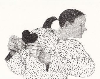I wanted you to know / original drawing / pen drawing / Hands / Shy