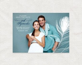 peacock wedding photo save the date or engagement announcement - PRINTABLE - art deco glamorous bird, diy, peacock feather, elegant teal