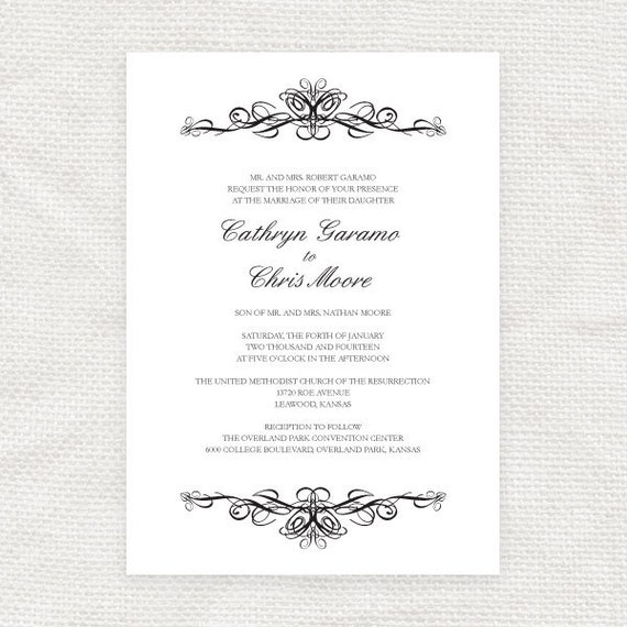 classic traditional printable wedding invitation scroll flourish black and white vintage DIY invite - classic scroll design