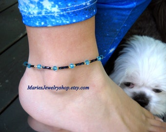 Handmade Aqua Crystal and Twisted Blue Beaded Stretch Ankle Bracelet with 24 kt. Gold plated accent beads