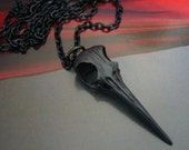 "Bird Skull Gothic Necklace, Weird Long Beak Animal Skull, Shock Jewelry, USA Metal, Hand Made, 24"" Dark Chain"