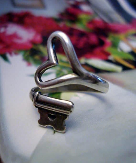 Heart Ring, Valentine Gift of Love, Steampunk Key Heart Ring, Vintage Style Skeleton Key, Sterling Silver Finish, USA, Handmade