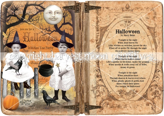 Primitive Halloween Cabinet Card - Witches Tea Party