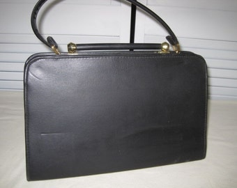 vintage Black Vinyl Kelly Bag with brass closure by Bobbi - Made in USA