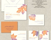 Fall Leaves Wedding Invitations, Calligraphy Wedding Invitation, Invites, Vibrant Purple & Burnt Orange, Autumn, Leaves, Leaf, Oak, Linen