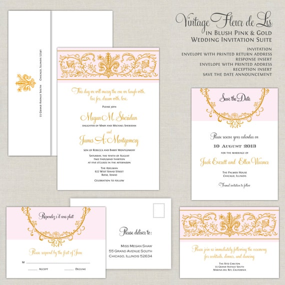 Fleur de Lis Wedding Invitations, Blush and Gold Wedding Invitations ...