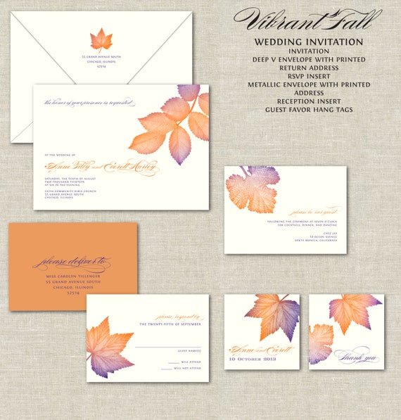 Fall Leaves Wedding Invitations Calligraphy