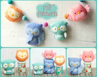 PDF. Owl family garland.  Plush Doll Pattern, Softie Pattern, Soft felt Toy Pattern.