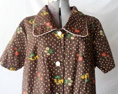 classic 1960s floral brown button down housedress