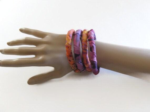 Bangle Tribal Bracelets Pink Purple Orange Batiks