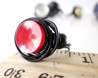 Petite Red Vintage Button Wire Wrapped Ring Size 6