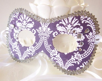 Silver and Purple Toile Masquerade Ball Mask