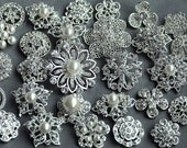 10 Rhinestone Button Brooch Large Top Quality Embellishment Pearl Crystal Wedding Bouquet Brooch FREE Combine Shipping US BT164