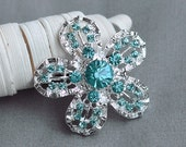 5 Teal Blue Aqua Blue Rhinestone Button Crystal Button Wedding Bridal Brooch Bouquet Cake Hair Comb Shoe Clip DIY Supply BT355