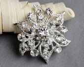 5 Large Rhinestone Button Embellishmentl Crystal Wedding Brooch Bouquet Invitation Cake Decoration Hair Comb Clip BT389