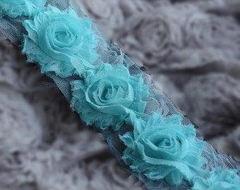 5 Yard Shabby Rose Trim 70 Shabby Flowers Shabby Frayed Chiffon Flowers Aqua Blue Wedding Bridal Hair Accessory Headband LA073