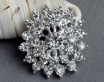 5 Large Rhinestone Button Embellishment Pearl Crystal Wedding Brooch Bouquet Invitation Cake Decoration Hair Comb Clip BT400