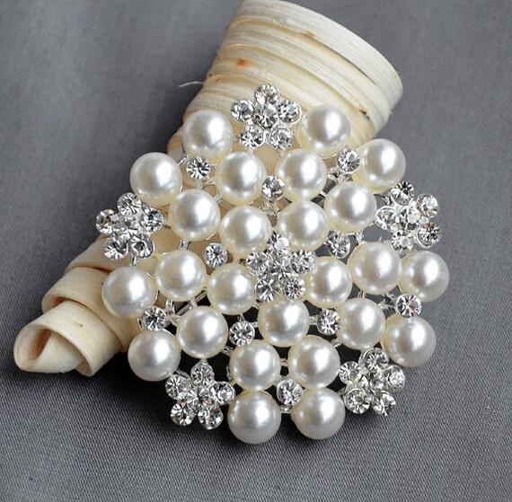 Rhinestone Brooch Pearl Crystal Brooch Bridal Brooch Bouquet Hair Comb Shoe Clip Wedding Cake Invitation DIY Supply BR014