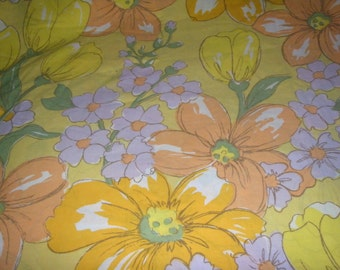 Wonderful and Funky Flower Power Twin Flat Sheet  - Reclaimed Bed Linens