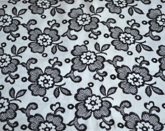 Vintage Fabric - Black and White Floral - By the Yard