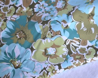 Vintage Fabric - Turquoise and Olive Floral - Stretch Cotton Twill 49 x 49