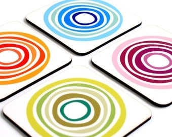 Colorful Geometric Modern Decorative Patterned Drink Coaster Set - set of 4