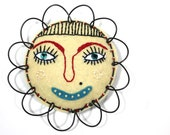 Mixed Media Flower Face Folk Art, Buttercup